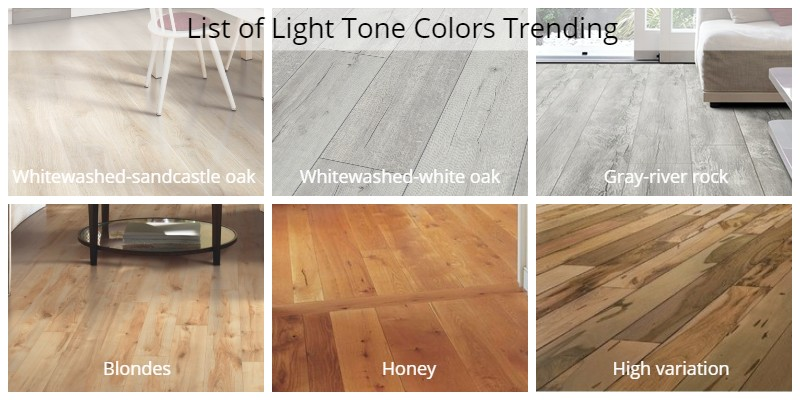a list of light tone colors currently trending